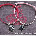 bracelet coton ciré rose et fushia argent massif-2