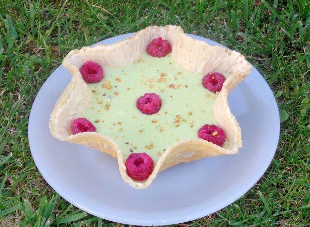 Coupelle crème pâtissière pistache