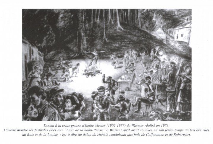 petit wasmes rue du bois dessin feu de st photo de wasmes cartes postales anciennes. Black Bedroom Furniture Sets. Home Design Ideas