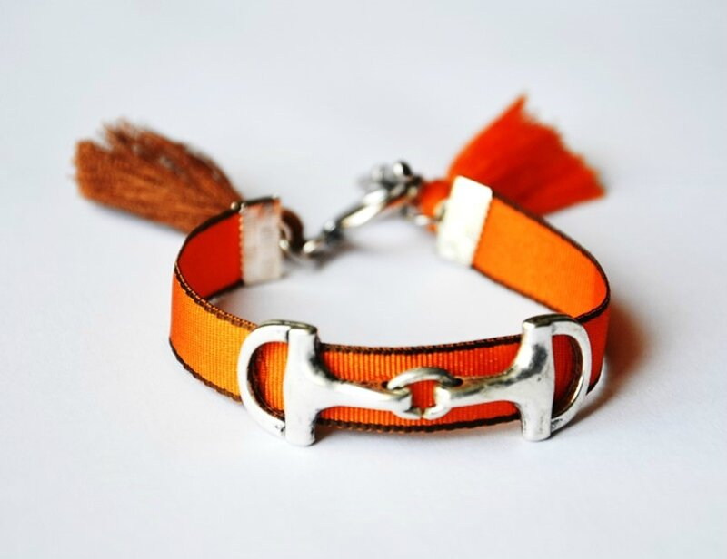Bracelet mors cheval orange et marron