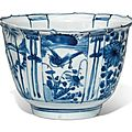 A blue and white 'Bird and flowers' Kraak porcelain bowl, Wanli period (1573-1619)