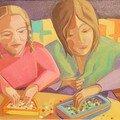 jeu de perles sur table basse