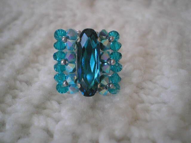 Belle Baguette bleu indicolie et turquoise ab2x