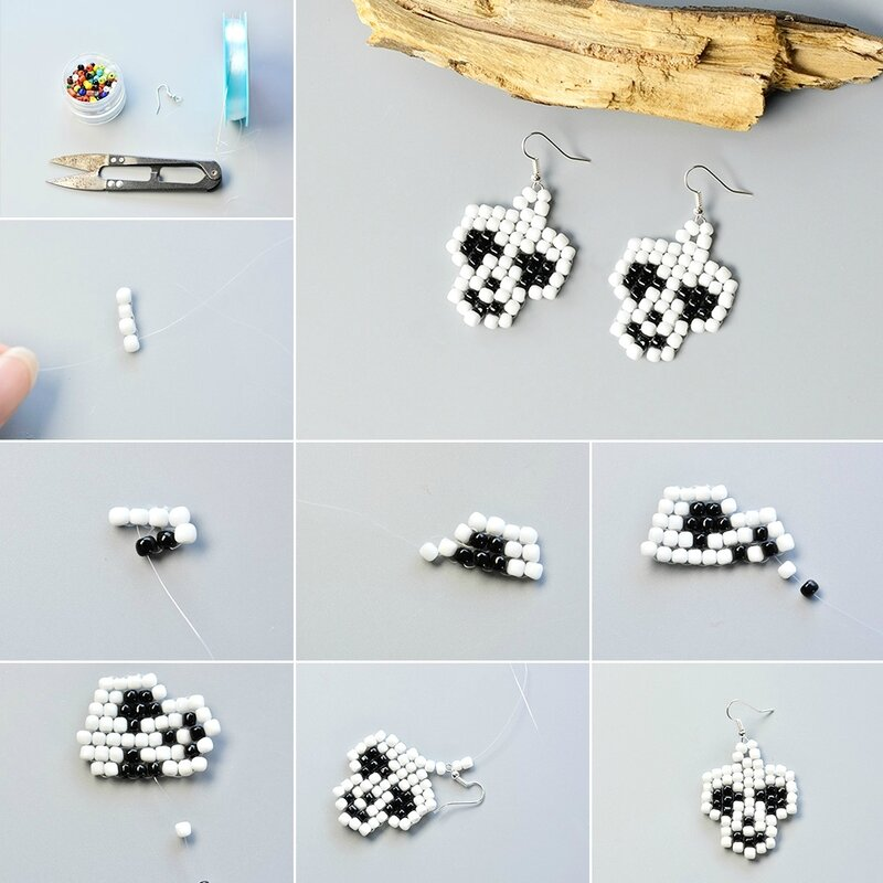 How-to-Make-a-Pair-of-White-and-Black-Seed-Bead-Stitch-Skull-Earrings-for-Halloween