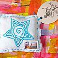 Mail-art étoile, maison et visage