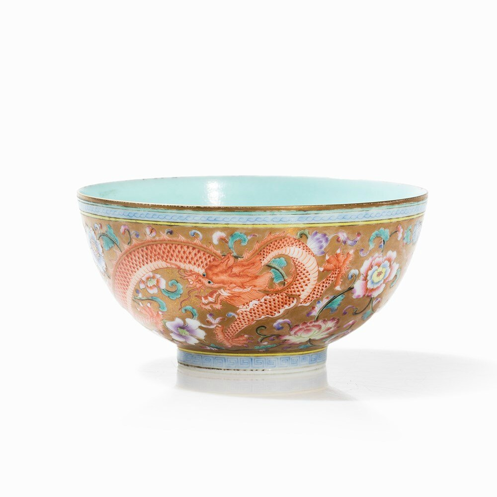 Gold-Ground Bowl with Dragon Décor in Iron Red, Qing Dynasty
