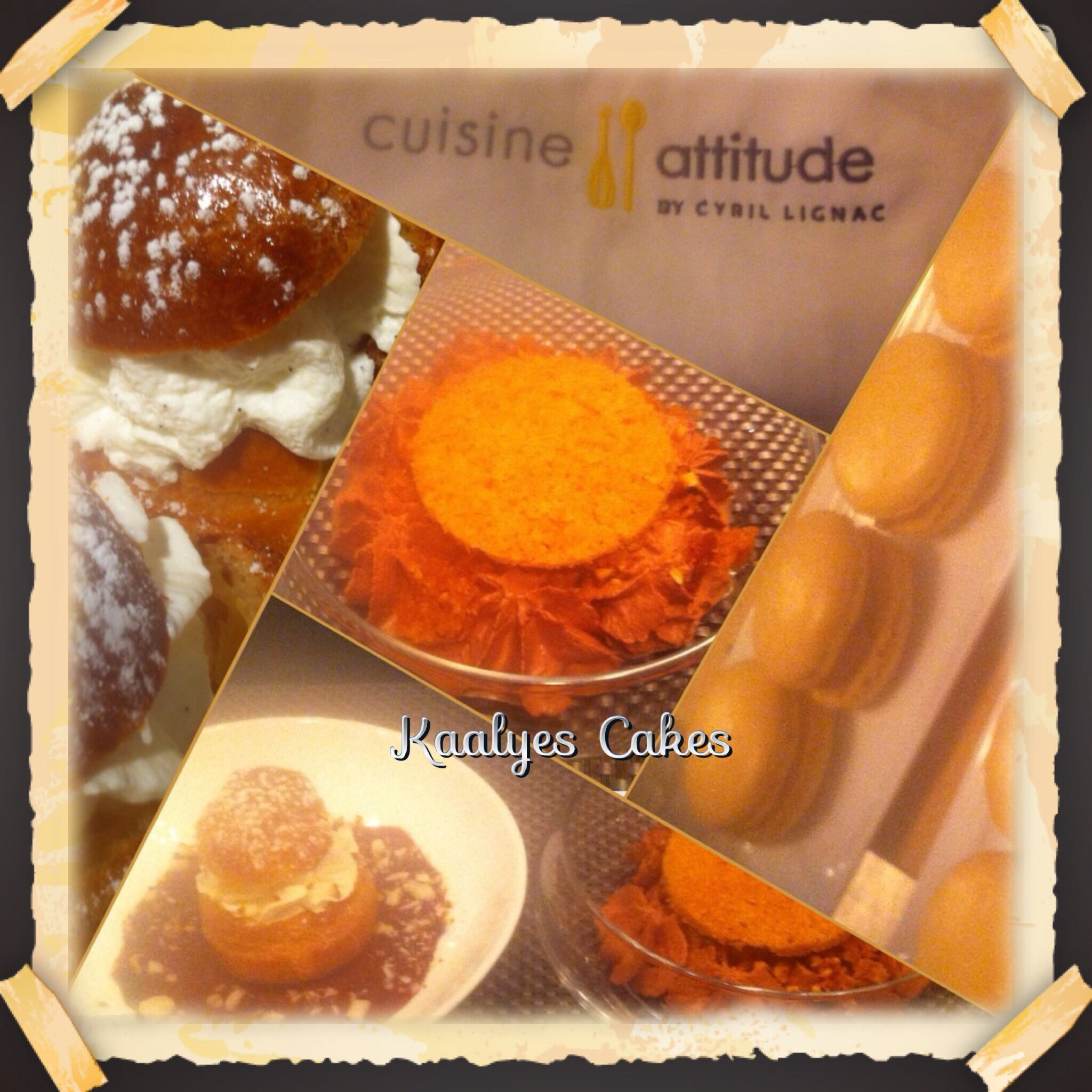 Choux chantilly, macaron caramel beurre salé & tarte poire chocolat déstructurée