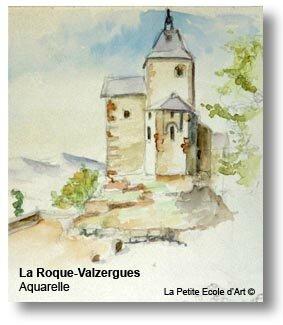 Aquarelle La Roque Valzergues