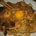 Udon (pâte japonaise) aux crevettes recette