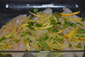 dorade au citron confit, filet de poisson blanc