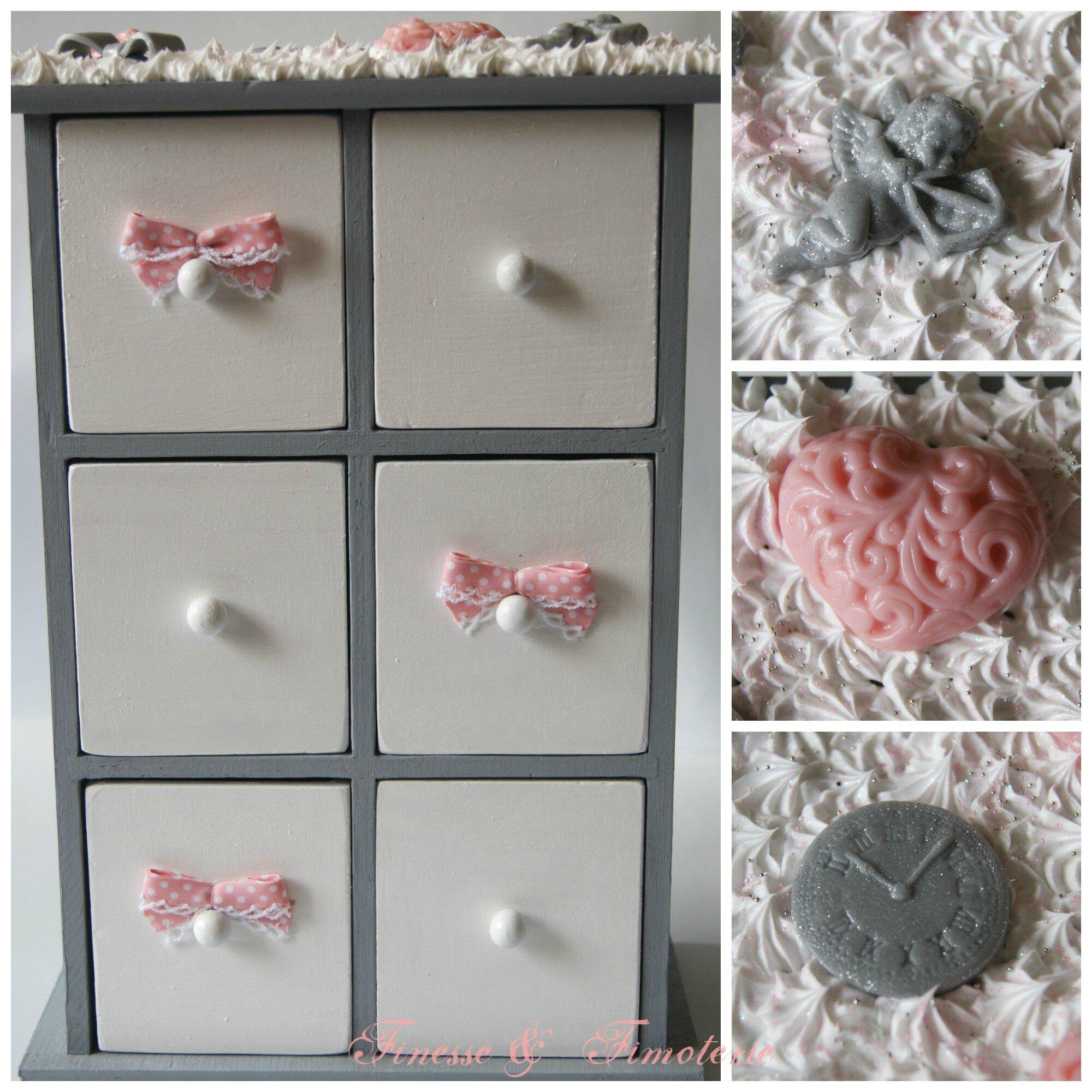 boîte à tiroir grise vieux rose