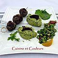 Kebab de canard, fèves en 2 façons au citron ( concours stéphane deccoterd )