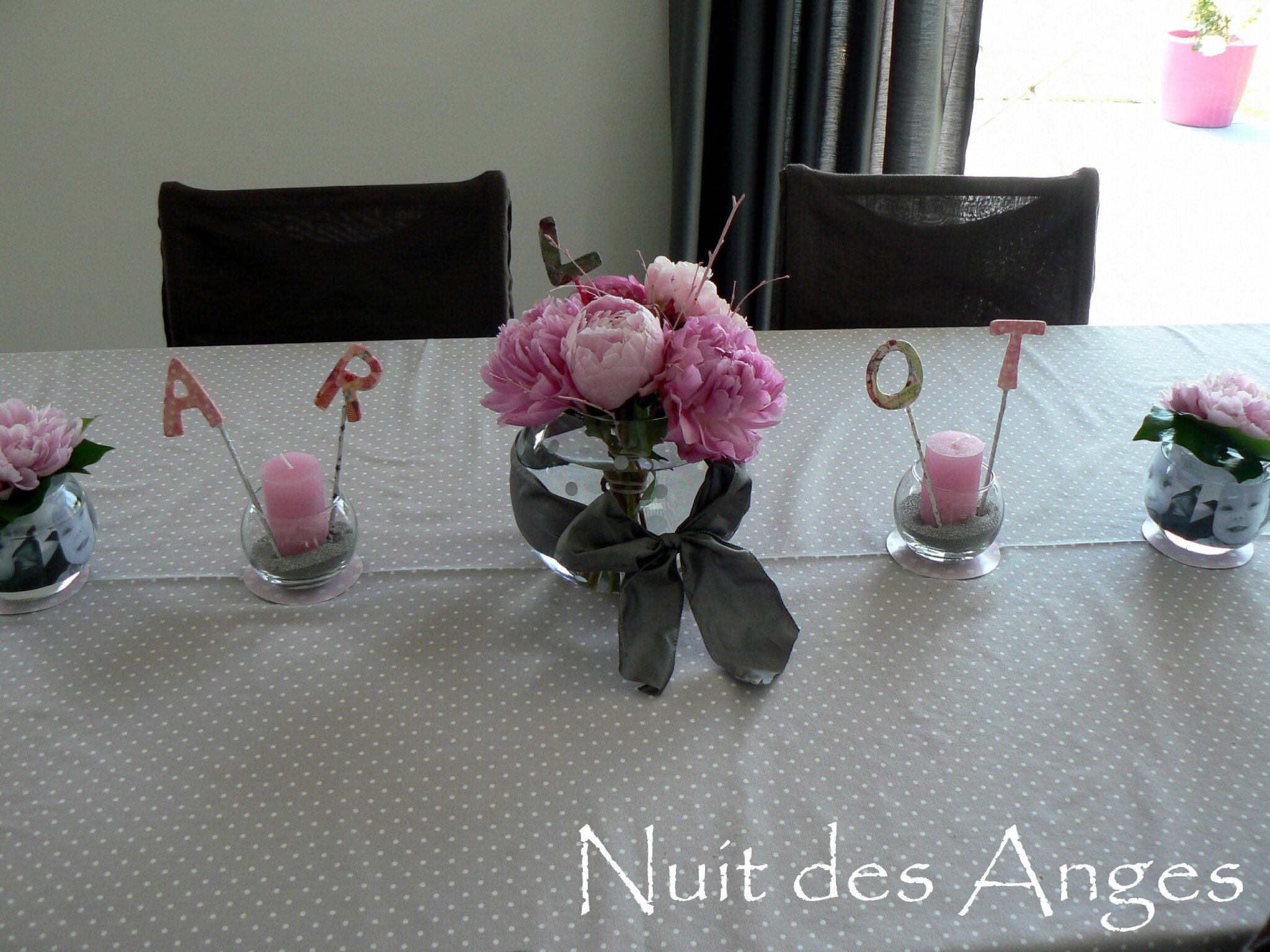 Deco Table Bapteme Fille Rose Blanc : Deco bapteme fille rose et gris
