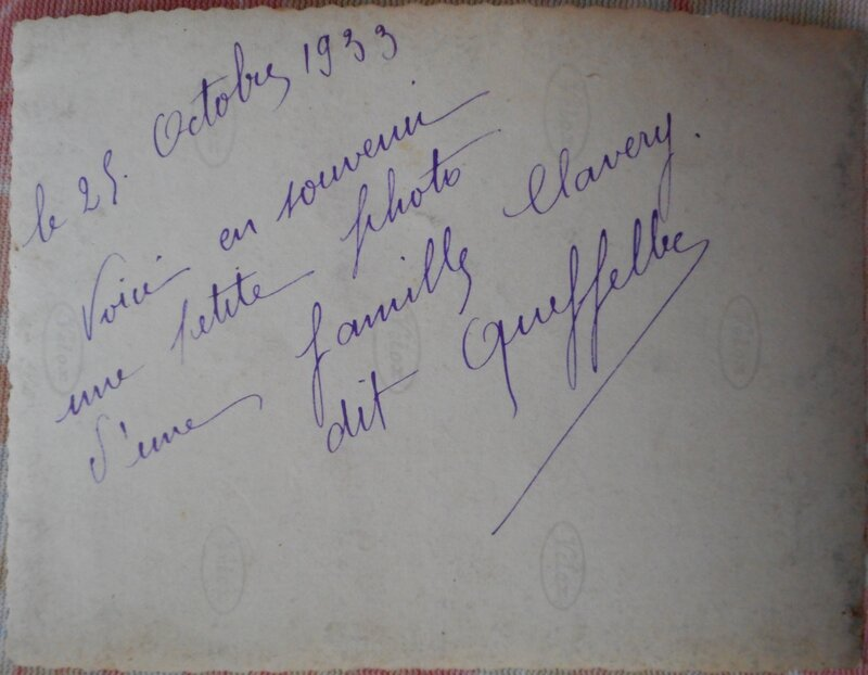 1933 Famille Clavery_Verso