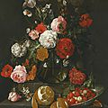 Cornelis jansz. de heem, a still life of roses, poppies, lillies and other flowers in a glass vase on a marble shelf; beneath a