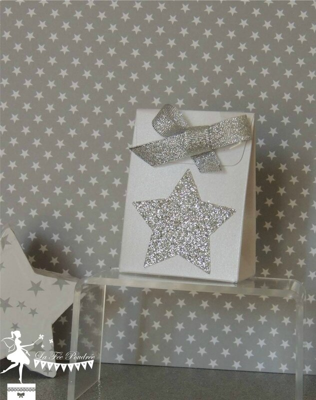 ballotin dragées baptême rose blanc nacré thème étoile star argent sujet enfant3