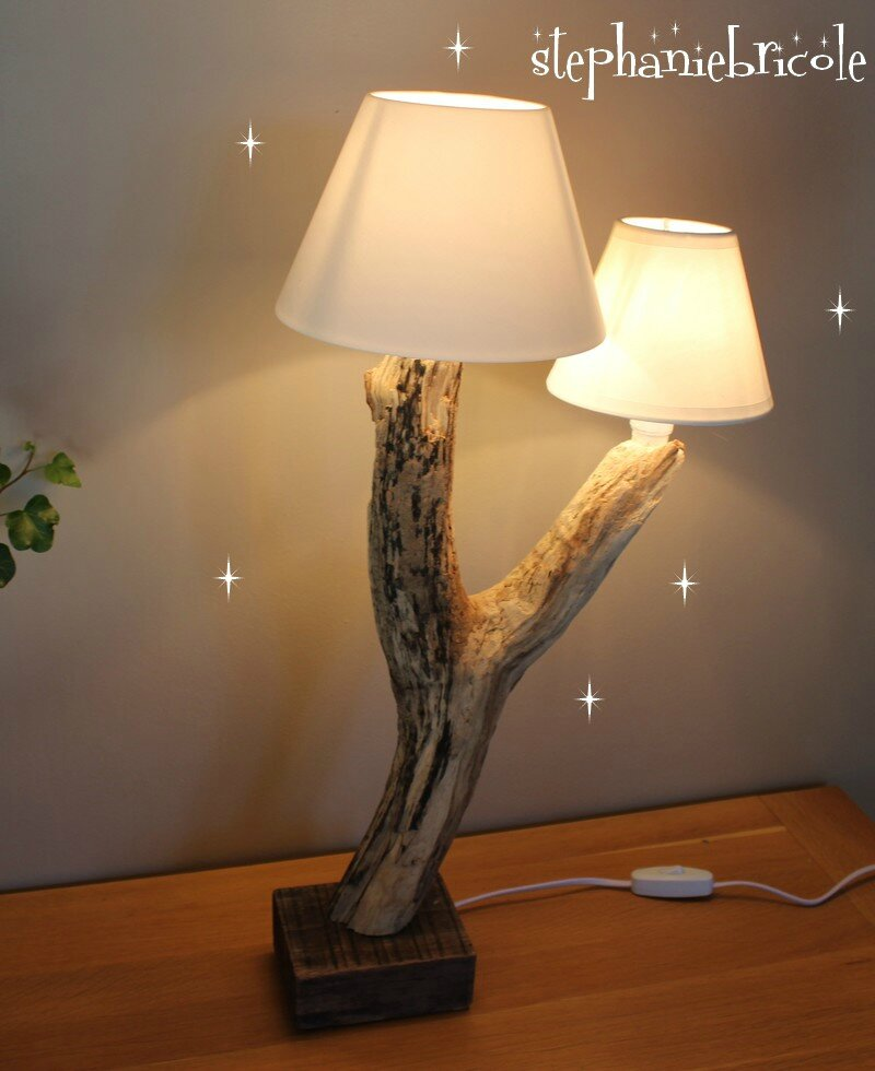 diy faire une lampe soi m me mod le en bois flott 1 st phanie bricole. Black Bedroom Furniture Sets. Home Design Ideas
