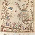 Rares lments d'une Chinoiserie  pour meuble  en indiennes appliques, XVIIIme sicle