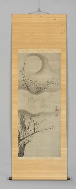 Plum blossoms beneath a full moon