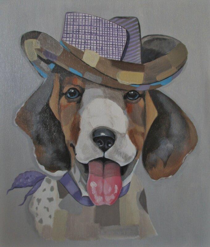 Chien au chapeau (Acrylique sur bois)