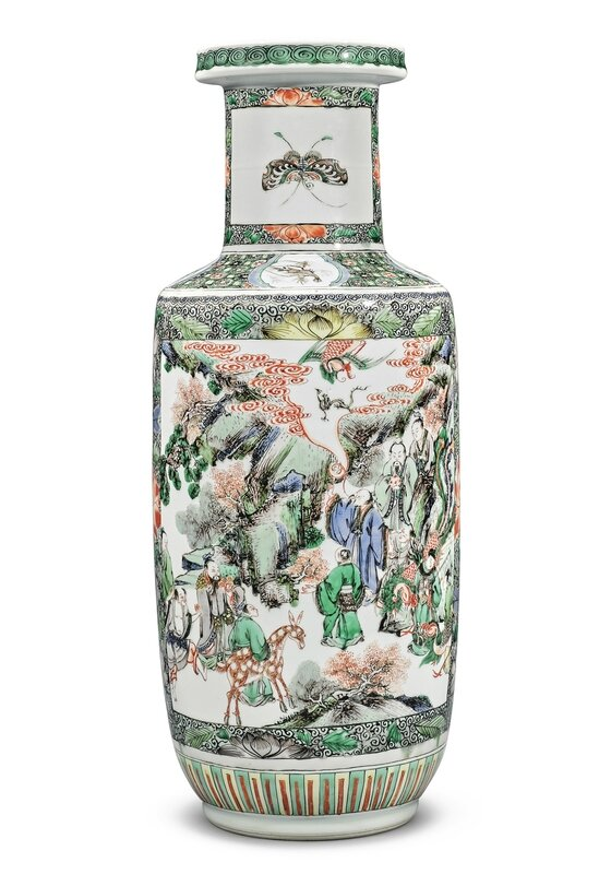 A famille-verte 'Figural' rouleau vase, Qing dynasty, Kangxi period (1662-1722)