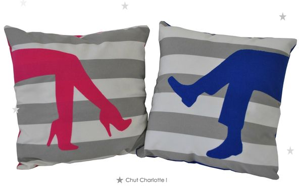 Coussin Couple Fuchsia &amp; Bleu Klein (1bis)