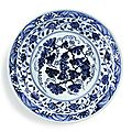 A superb blue and white 'grape' charger, ming dynasty, yongle period (1403-1425)