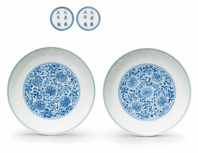 A fine pair of blue and white dishes, Yongzheng six-character marks in underglaze blue within double circles and of the period