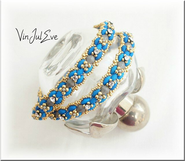 bracelet savigny 2 rangs turquoise gris or 1