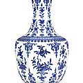 A large blue and white hexagonal vase, seal mark and period of qianlong