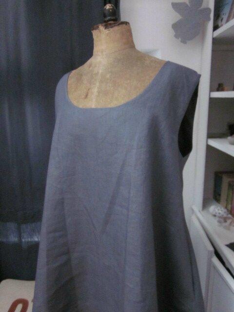 Robe EUPHRASIE en lin gris (3)