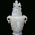 A small agate vase in mogul shape with floral motives, china, qing dynasty, 19th century