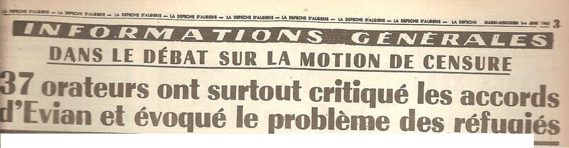 motion censure 4 juin 1962