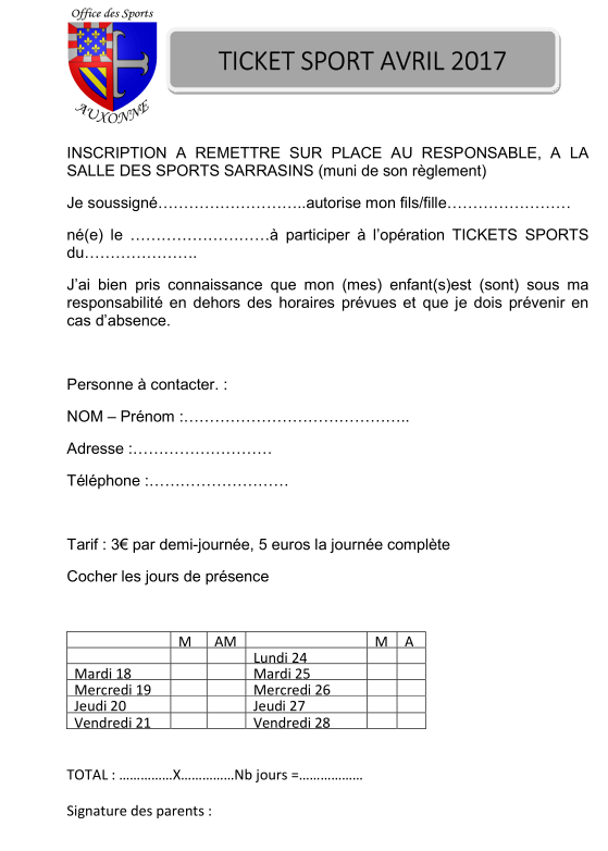 INSCRIPTION PRINTEMPS