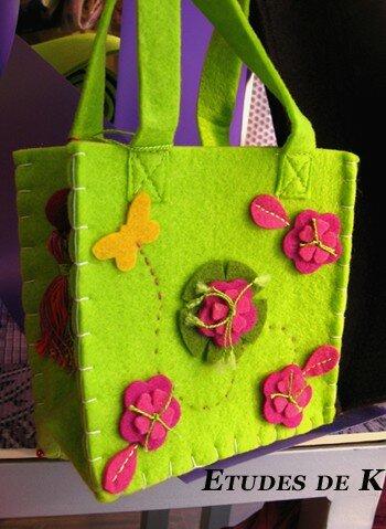 sac fillette vert papillon vole