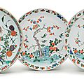 A group of three famille verte saucer dishes, Kangxi period (1662-1722)
