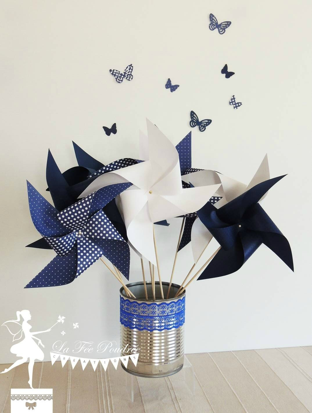 moulin a vent bleu marine pois blanc pompon decoration bapteme baby shoawer mariage ruban dentelle theme papillon