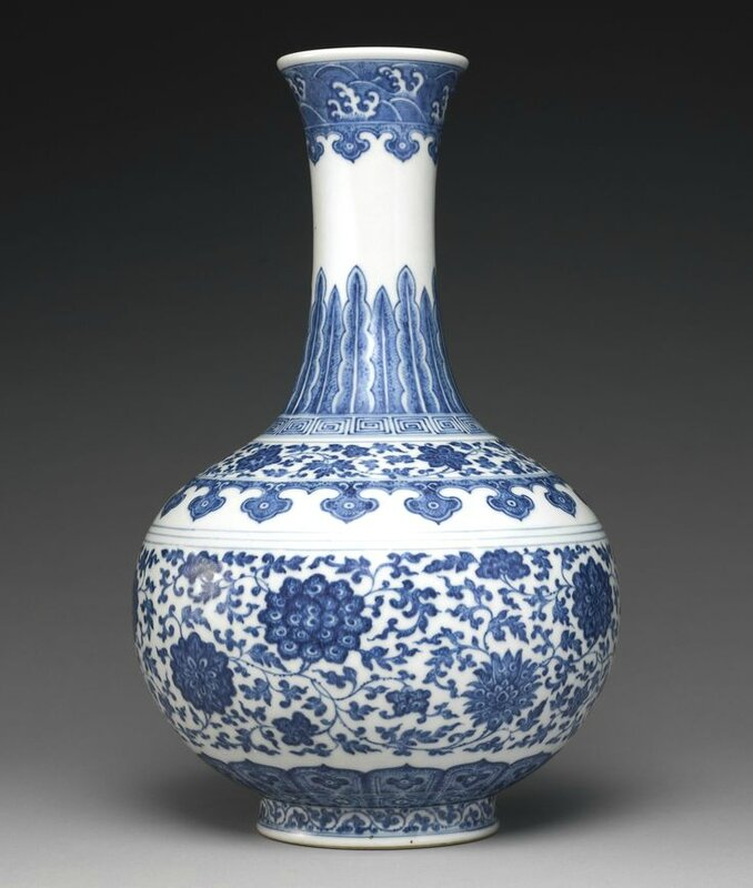 A blue and white 'Ming style' bottle vase, Daoguang seal mark and period