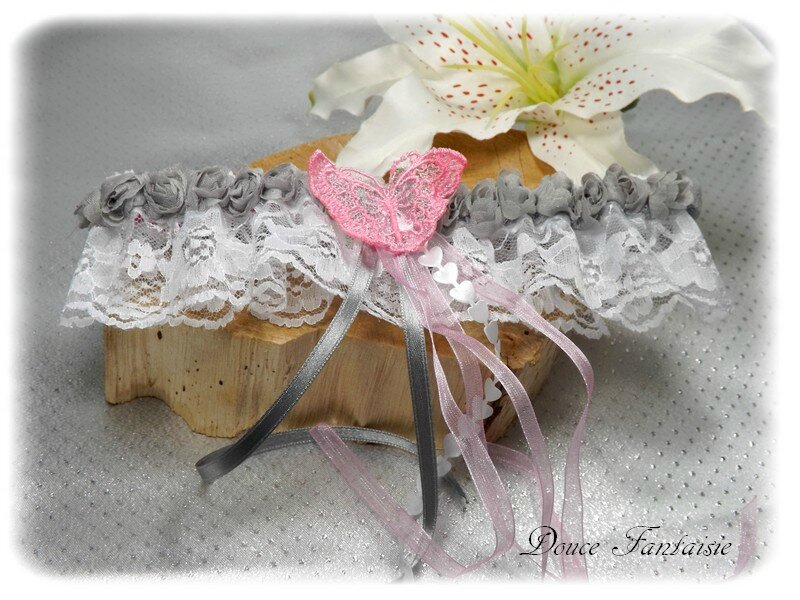 Jarretière blanc gris rose