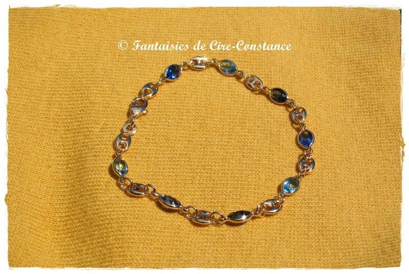 Bracelet plaqué or Swarovski NEW bleu-2