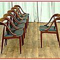 Chaises danoises teck j. andersen uldum 1960 vendu