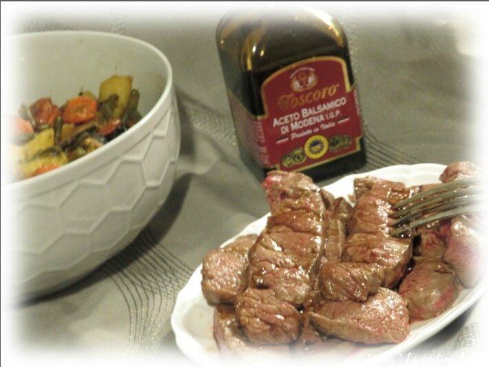 viande fondue et poêlé légumes