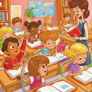 41-maitresse, élèves assis livres 1ou2 lèvent le doigt