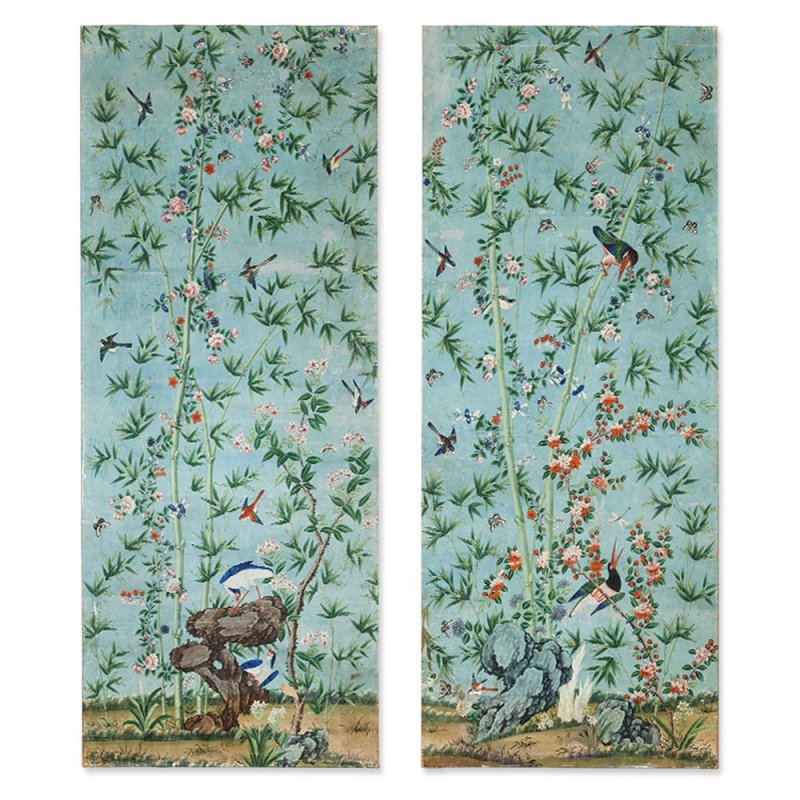 Exquisite Wall Coverings From China: Pair Of Mesmerizing Chinese Wallpaper Panels, China, 18th