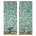 Pair of mesmerizing chinese wallpaper panels, china, 18th century