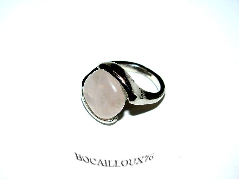 BAGUE CABOCHON QUARTZ ROSE 7 - T49