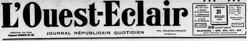 Ouest Eclair 1927 le 31 juillet_1