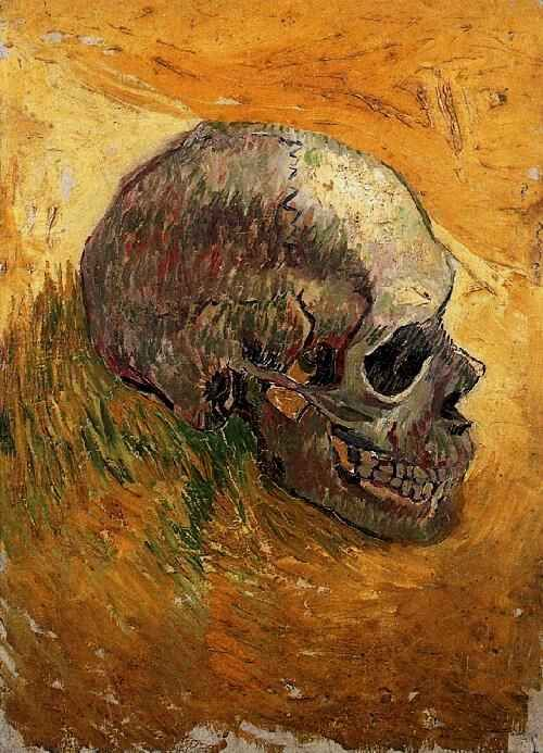 Vincent van Gogh, Skull, Painting, Oil on Canvas on Triplex Board. Paris: Winter, 1887 - 88. Van Gogh Museum Amsterdam, The Netherlands, Europe. F: 297, JH: 1346