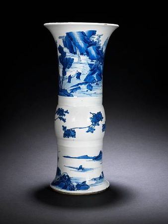 A_blue_and_white_flaring_beaker_vase__gu