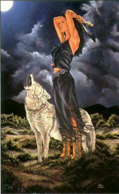 une-indienne-avec-un-loup-qui-hurle